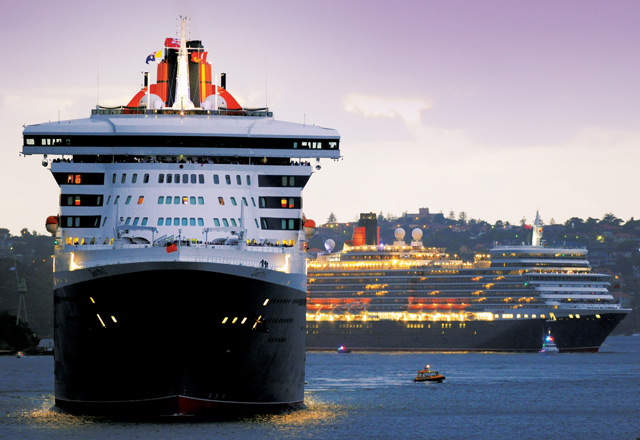 Cunard's Queen Mary 2 and Queen Elizabeth rendezvous in Sydney harbour. Photo courtesy of Cunard