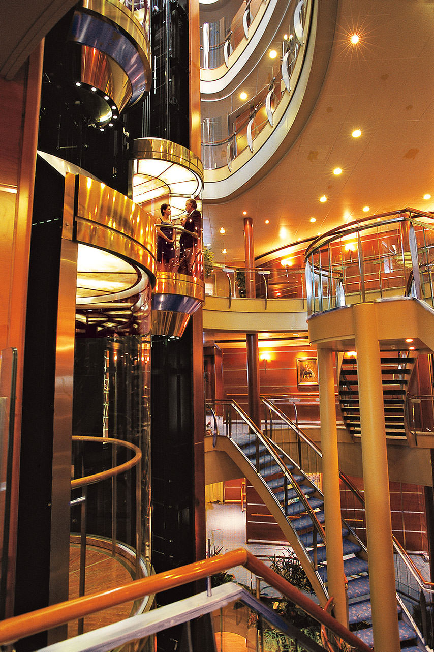 You might not expect it, but Regent's Seven Seas Navigator boasts a sweeping, multi-story atrium at the heart of the ship. Photo courtesy of Regent Seven Seas Cruises.