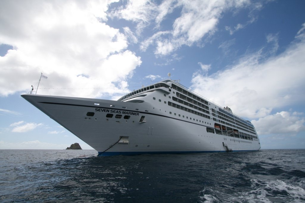 Regent Seven Seas Mariner anchored off St. Barts.   by Ralph Grizzle