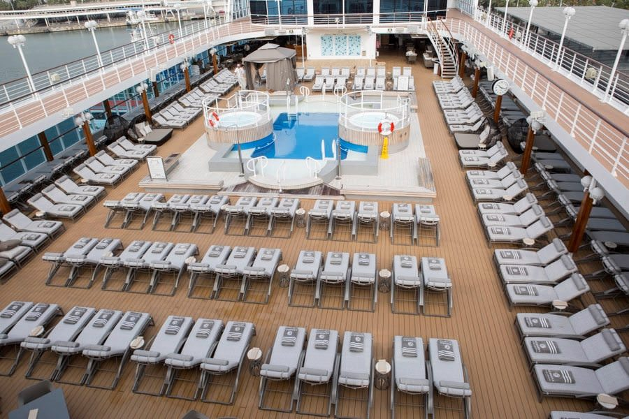Azamara Journey's spacious Pool Deck is also becoming a rarity in the cruise industry. Photo courtesy of Azamara Club Cruises