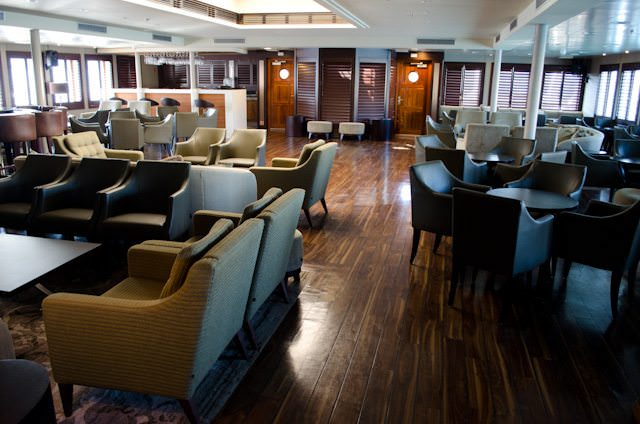 Wind Star's main Lounge was given a substantial makeover in 2012, along with the rest of the vessel. Photo © 2014 Aaron Saunders