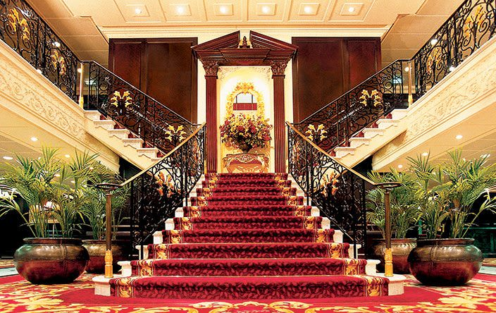 Welcome Aboard! Oceania's Nautica revives the classic ocean liner tradition of having an impressive Grand Staircase to welcome guests. Photo courtesy of Oceania Cruises.