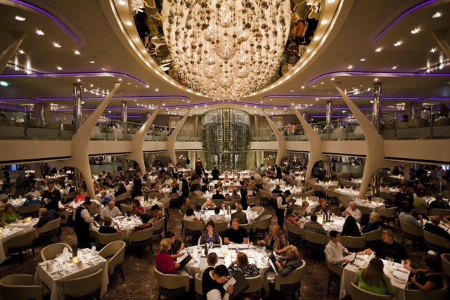 Past meets Present in the beautiful Grand Eparney dining room aboard Celebrity Solstice. Photo courtesy of Celebrity Cruises