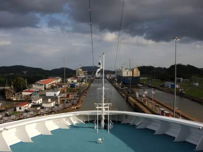 Transiting the Panama Canal, in modern day.