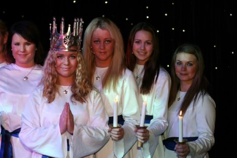 Seven lovely Swedish girls boarded Arcadia for an afternoon performance of the traditional ceremony Lucia.