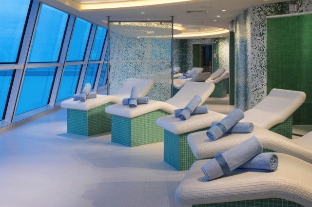 Heated chairs in the AquaSpa. Photo courtesy of Celebrity Cruises