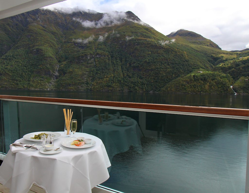 Lunch with a view int he Geirangerfjord.