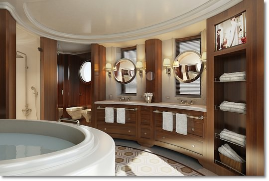 Bathrooms are sumptuous at the Owner's Suite level. Courtesy of Oceania Cruises