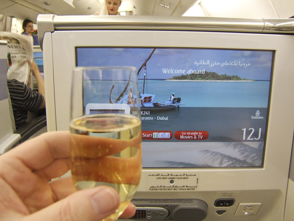 In a business class seat on Emirates Airlines