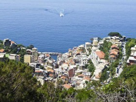 A panorama of Cinque Terre village and sea on Italy's west coast