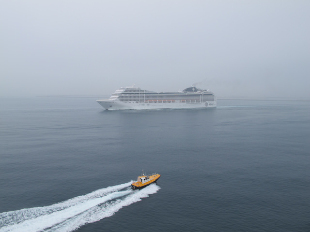MSC Poesia in the fog off the coast of Spain. Photo © 2011 Aaron Saunders