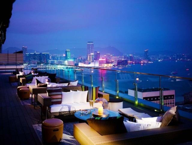 Rooftop bar in Hong Kong