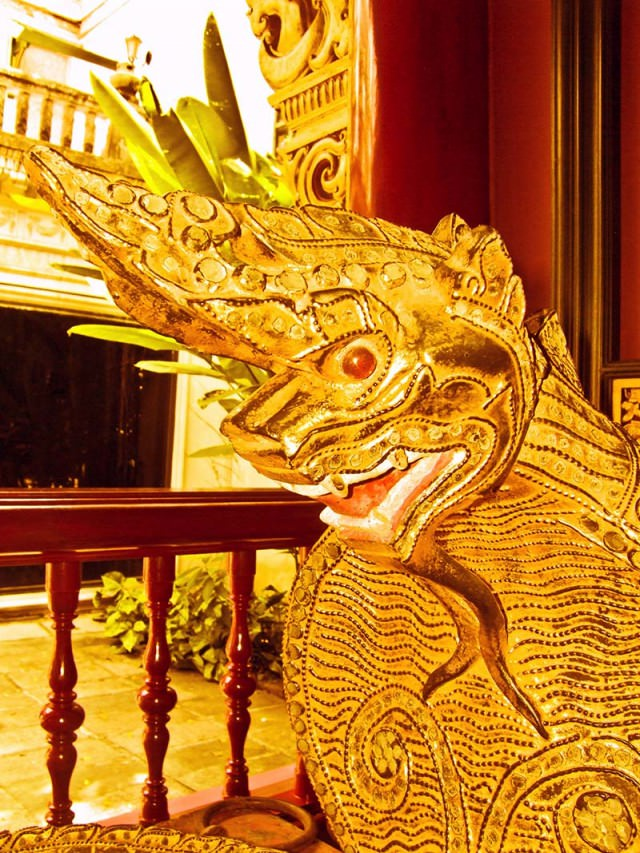 A gilded dragon in temple at Prasart Museum Bangkok
