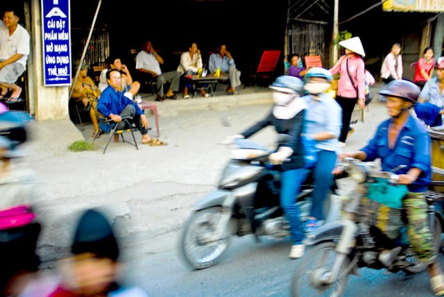 A typical blur of cyclists in Saigon