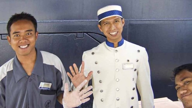 Crew on gangway of Holland America's ship Noordam