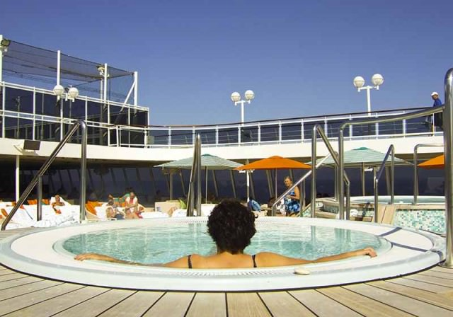 A hot tub on the deck of Crystal Serenity