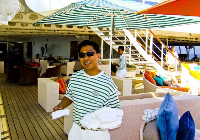 On deck of Crystal Serenity