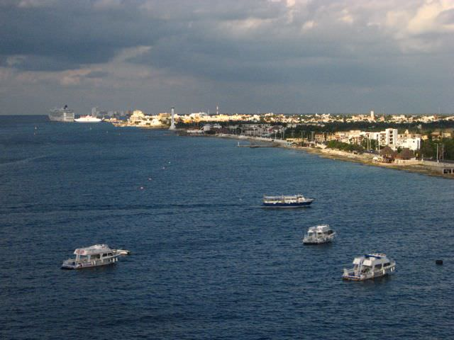 Cozumel, Mexico as seen from onboard Grandeur of the Seas. Photo © Aaron Saunders