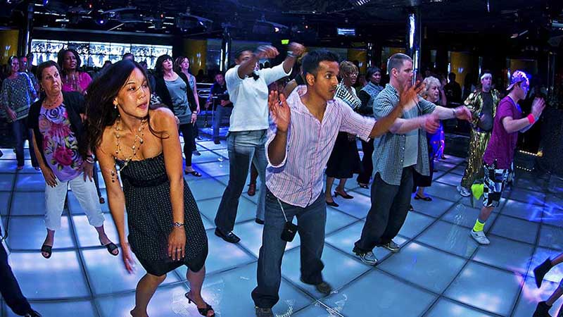 Dancing in a night spot on Carnival Cruises