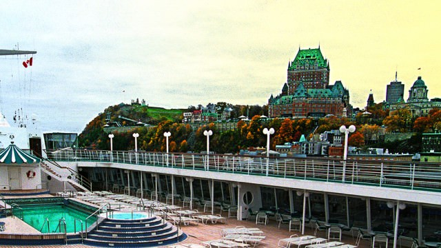 Crystal Symphony docked in old Quebec City