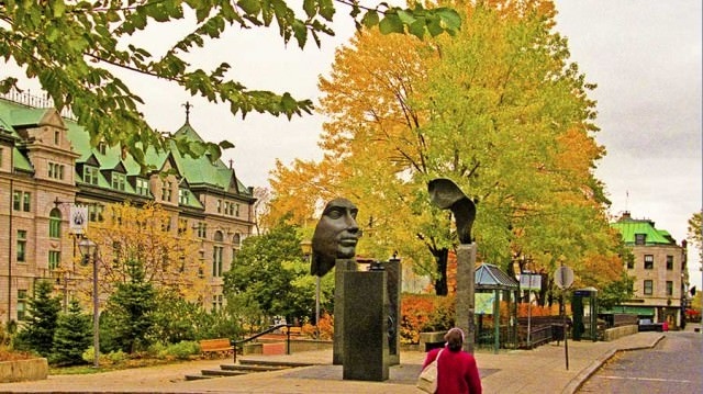 Street in Quebec city at fall color time
