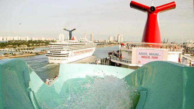 Carnival Liberty water slide with sailaway message