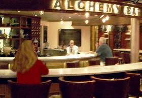 Alchemy Bar on Carnival Liberty resembles an old pharmacy