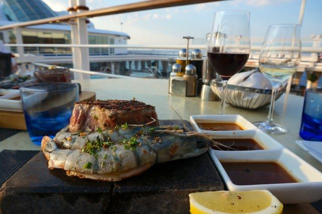 At The Grill, we cooked our own steaks on hot lava stones. © 2013 Ralph Grizzle
