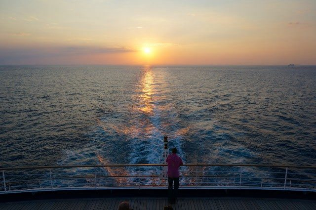 Silver Spirit en route to Kusadasi, Turkey, as the sun sets on the Aegean Sea. © 2013 Ralph Grizzle