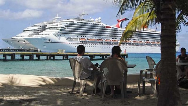 A man-made beach in Cozumel at Carnival's dock