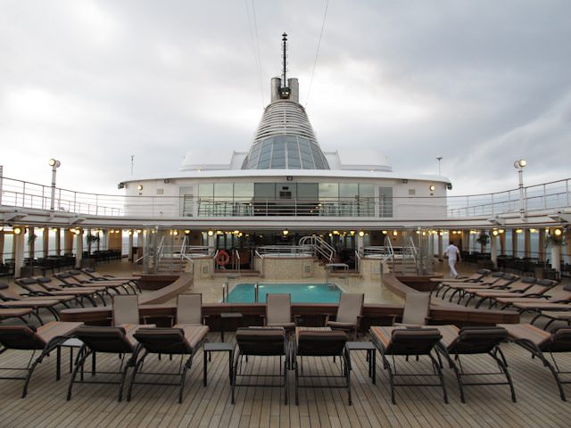 Silver Spirit's attractive pool deck, facing aft. Photo © Aaron Saunders