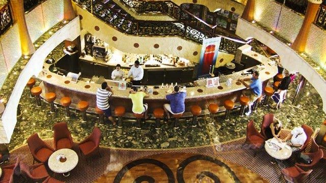 Lobby of Carnival Liberty as seen from atrium elevator