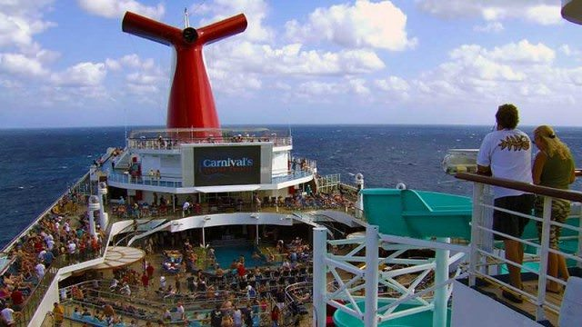 Looking down from upper deck of Carnival Liberty
