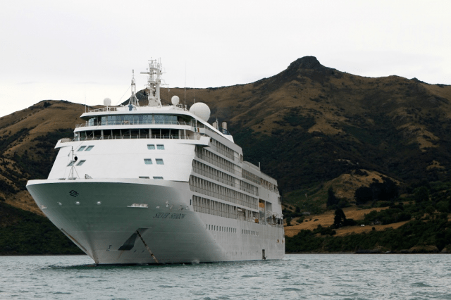Silver Shadow Anchored Off Akaroa, New Zealand.