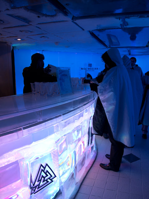 """Yes, it's chilly - but the SVEDKA Ice Bar aboard Norwegian Epic was a pretty """"cool"""" experience. Photo © 2012 Aaron Saunders"""