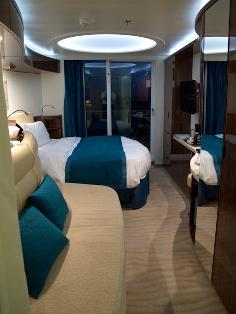 """Norwegian Epic's """"wave"""" balcony staterooms, by night. Notice the soft lighting - nice touch! Photo © 2012 Aaron Saunders"""
