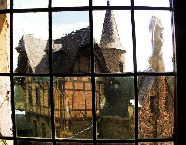 View through leaded glass window in Cochem, Germany