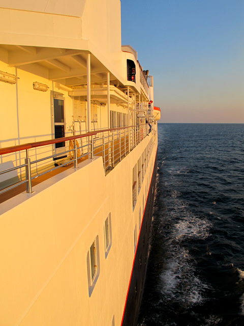 Sun sets aboard Silversea's intimate and luxurious Silver Explorer. Photo © 2012 Aaron Saunders