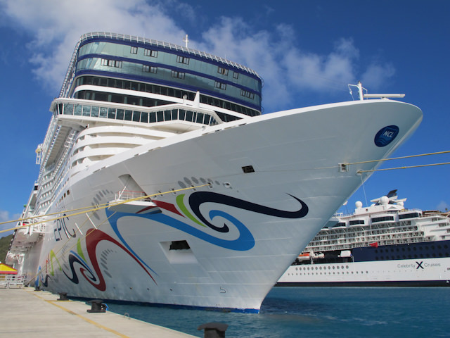 ...and the real Norwegian Epic shown in Philipsburg, St. Maarten this past March. Photo © 2012 Aaron Saunders