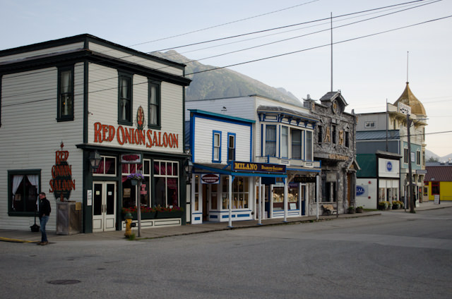 The general street arrangement in Skagway hasn't changed in a century. Note the Red Onion Saloon at left. Photo © 2012 Aaron Saunders