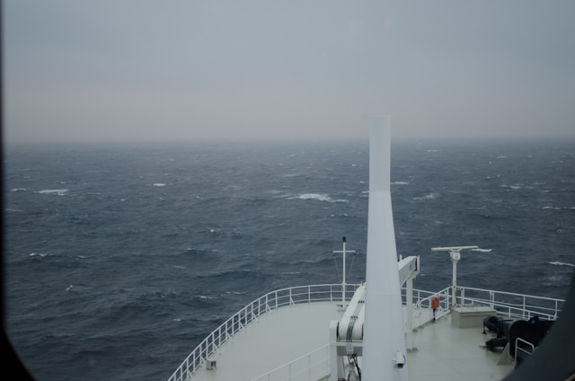 Today, Queen Mary 2 passed off the coast of Nova Scotia en-route to Southampton, England - with the tail wisps of Hurricane Sandy chasing us. Photo © 2012 Aaron Saunders