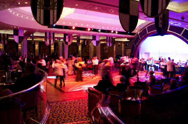 The Black and White ball in full swing in the Queen's Room, the largest ballroom at sea. Photo © 2012 Aaron Saunders