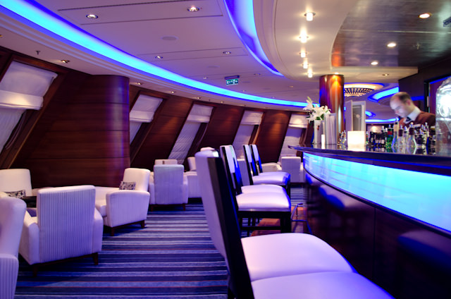 My favorite nightly perch for writing this blog: the Commodore Club on Deck 9, forward. Photo © 2012 Aaron Saunders