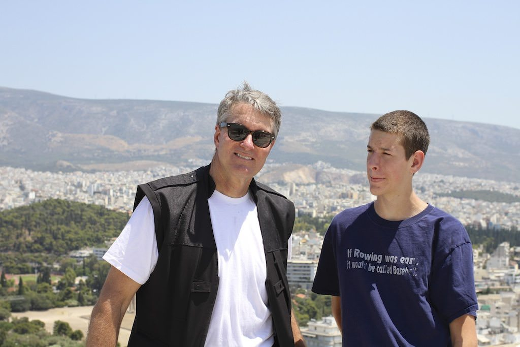 With my son in Athens, Greece, on Crystal Serenity. © Ralph Grizzle