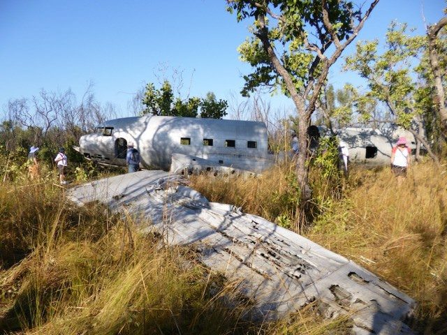 The wreck of a DC-3 without a sign of rust