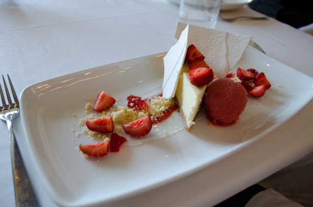 Dessert: Strawberry Cheesecake. Photo © 2013 Aaron Saunders