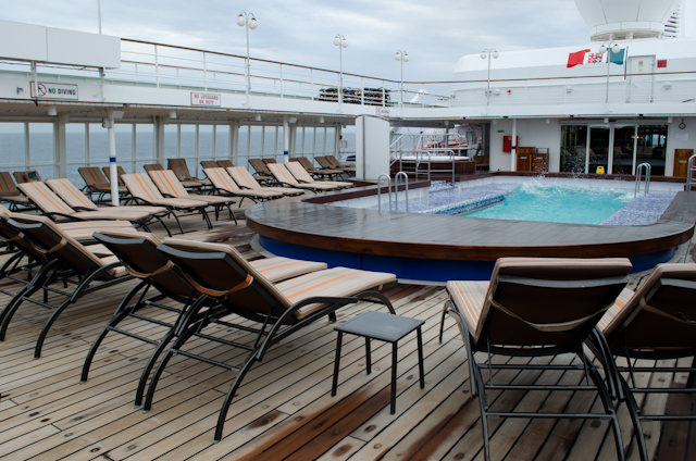 By 9am, the pool deck aboard the Silver Wind would start to fill up; a great place to read a book or catch up with friends. Photo © 2013 Aaron Saunders