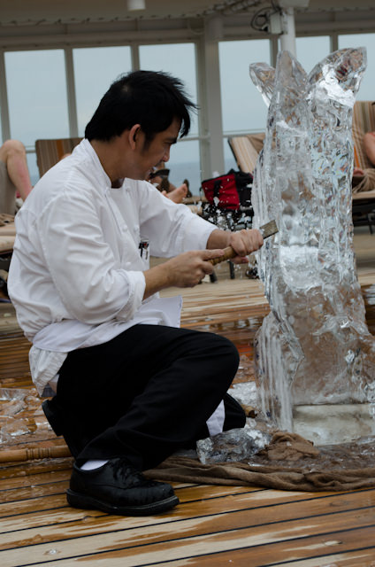 Taking in an ice-carving demonstration poolside this afternoon. Photo © 2013 Aaron Saunders