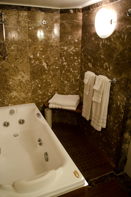 The marble-clad bathroom (or part of it) in the Grand Suite. Photo © 2013 Aaron Saunders