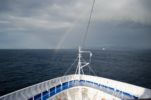 A rainbow guides Silversea's Silver Wind into Durban, South Africa this morning. Photo © 2013 Aaron Saunders